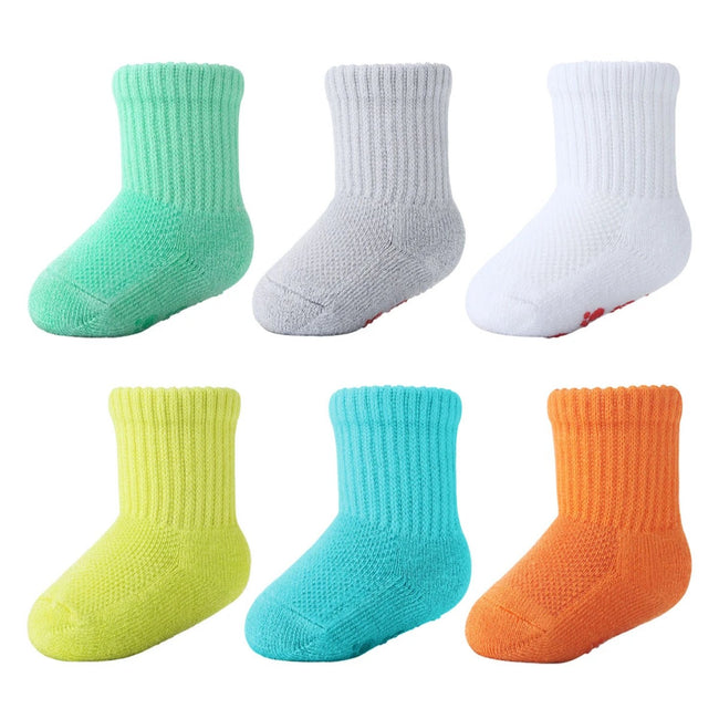 MD 6 Pairs Baby Bamboo Cushioned Newborn Toddler Non-Skid Socks