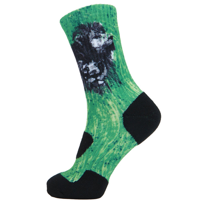 LIN 360 Print Basketball Cushion Athletic Outdoor Socks Lion