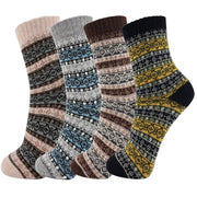 4 Pairs Wool Vintage Thick Warm Casual Crew Socks