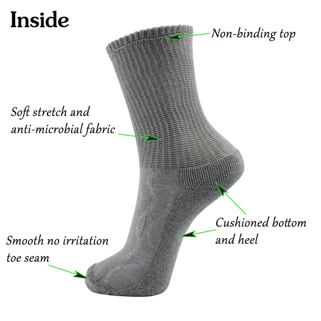 MD Cotton Non-Binding Crew Dress Socks with Cushion Sole (2 Pairs)