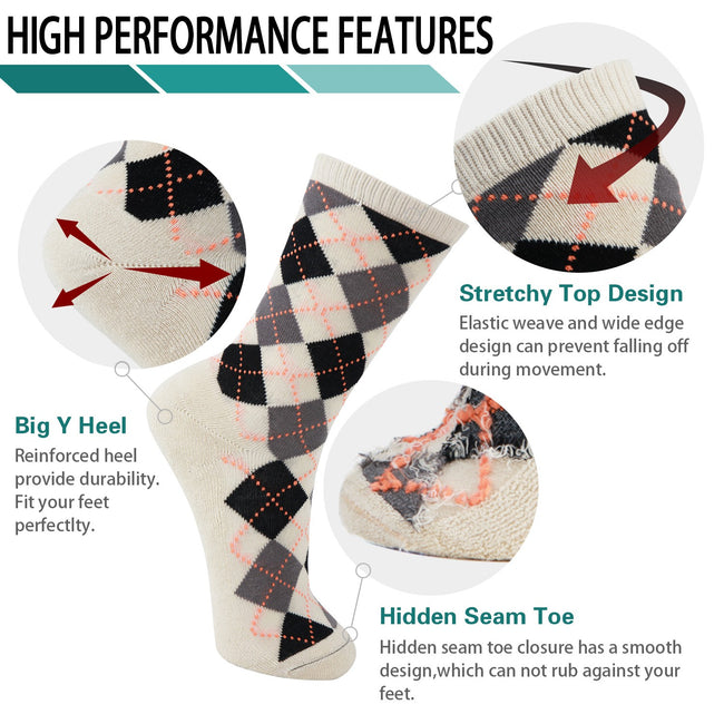 MD Mens Argyle Bamboo Cushioned Crew Dress Socks Moisture Wicking