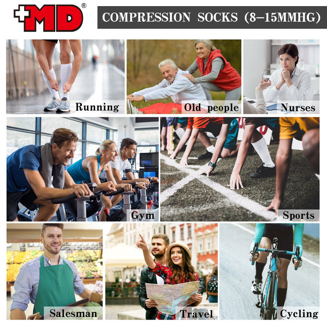 MD 8-15mmHg Compression Nurses Athletic Socks Anti-DVT