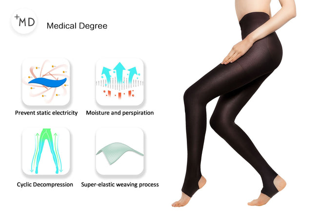 MD15-20mmHg Open Toe Compression Warm Pantyhose