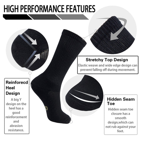 MD Soft Wicking Bamboo Socks Crew (2 Pairs)