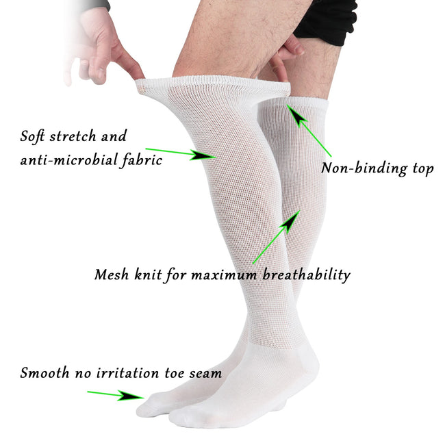 MD Extra Wide Non Binding Bamboo Over The Knee Socks With Cushioned Sole (2 Pairs)