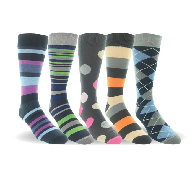Men 5 Pairs Cotton Crew Dress Socks Argyle Flat Knit