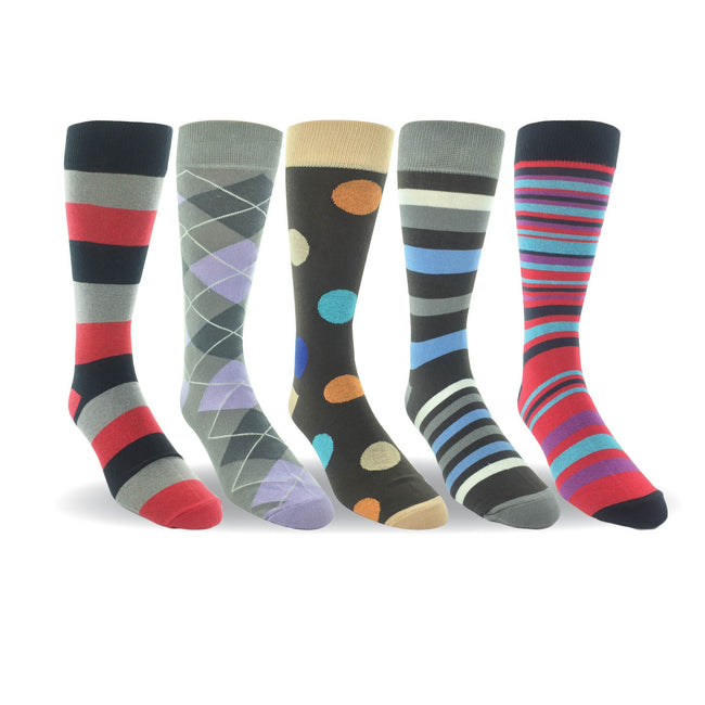 Men 5 Pairs Cotton Crew Dress Socks Patterned Flat Knit