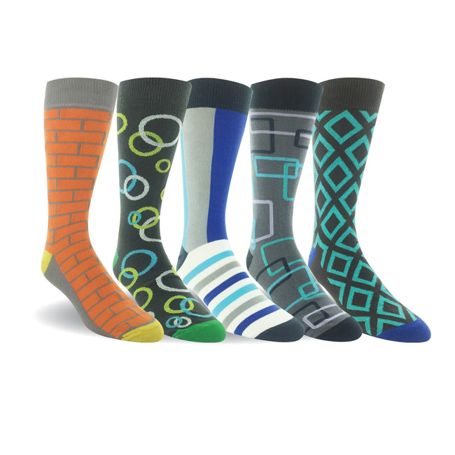 Men 5 Pairs Cotton Crew Dress Socks Point Flat Knit