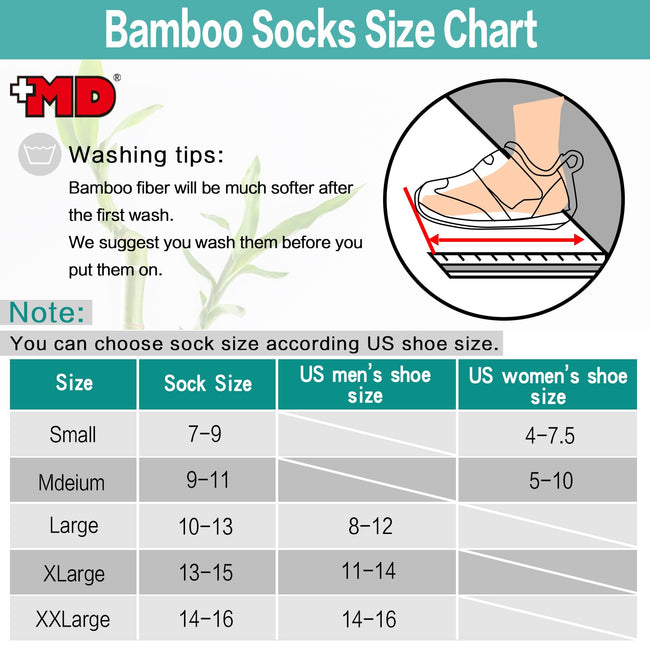MD Design Bamboo Crew Striped Socks Cushioned