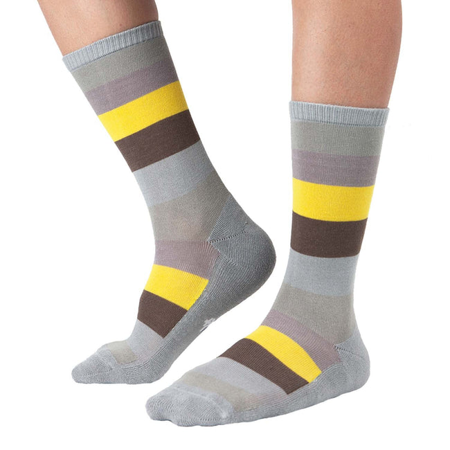 MD Design Bamboo Stripe Crew Dress Socks Cushioned Fashion
