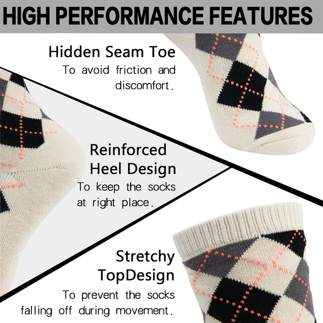 MD Design Bamboo Crew Argyle Dress Socks Cushioned