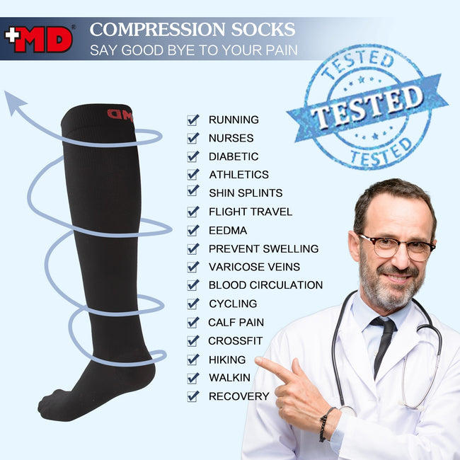 MD 8-15mmHg Knee High Microfiber Compression Socks