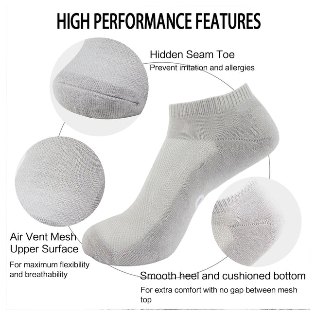 MD Bamboo Moisture Wicking Low-cut Socks Colorful