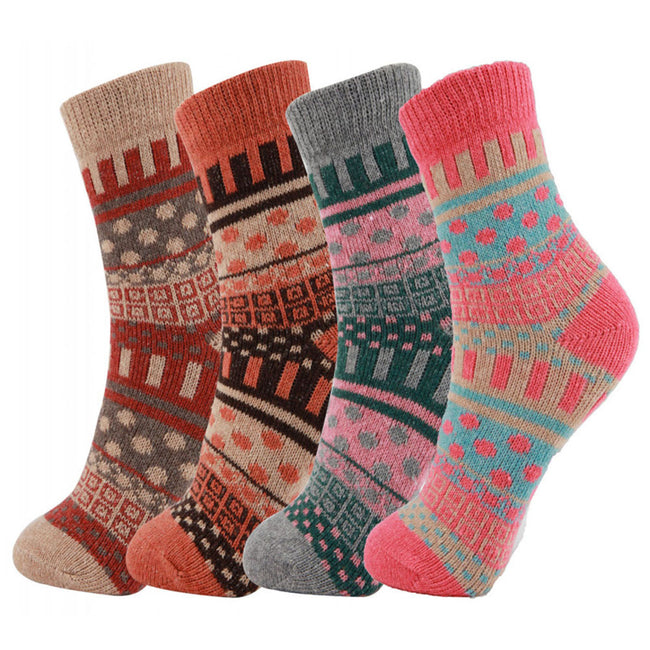 Fun Colorful Warm Socks Christmas Gift 4Pack