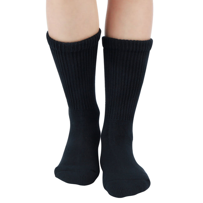 MD Cotton Non-Binding Warm Cushion Crew Socks Dress Socks (2 Pairs)