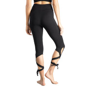 Women's Tie Up Yoga Capris Pants High Waist Cutout Yoga Workout Leggings