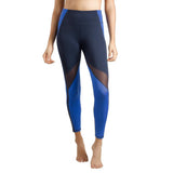 Womens Running Tights Mid-Waist 3/4 Length Tummy Control Mesh Leggings