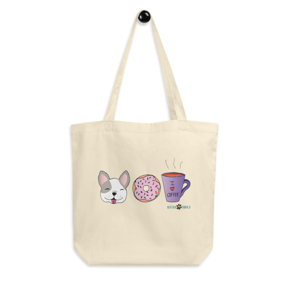 Dog, Donut, & Coffee Eco Tote Bag