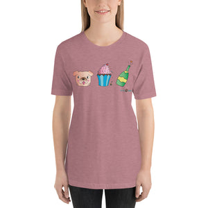 Dog, Cupcake, & Champagne Sustainable Short-Sleeve Men's & Women's T-Shirt