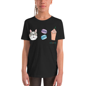 Dog, Macarons, & Frappuccino Youth Short Sleeve T-Shirt