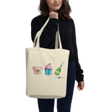 Load image into Gallery viewer, Dog, Cupcake, & Champagne Eco Tote Bag