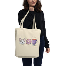 Load image into Gallery viewer, Dog, Donut, & Coffee Eco Tote Bag