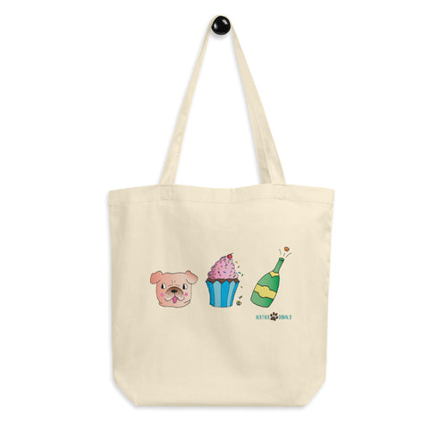 Dog, Cupcake, & Champagne Eco Tote Bag