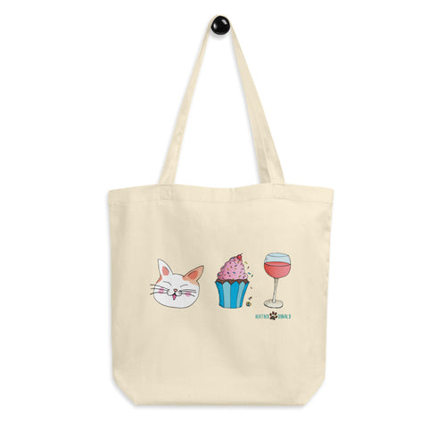 Cat, Cupcake, & Wine Eco Tote Bag