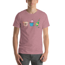 Load image into Gallery viewer, Dog, Cupcake, & Champagne Sustainable Short-Sleeve Men's & Women's T-Shirt