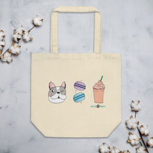 Load image into Gallery viewer, Dog, Macarons, & Frappuccino Eco Tote Bag
