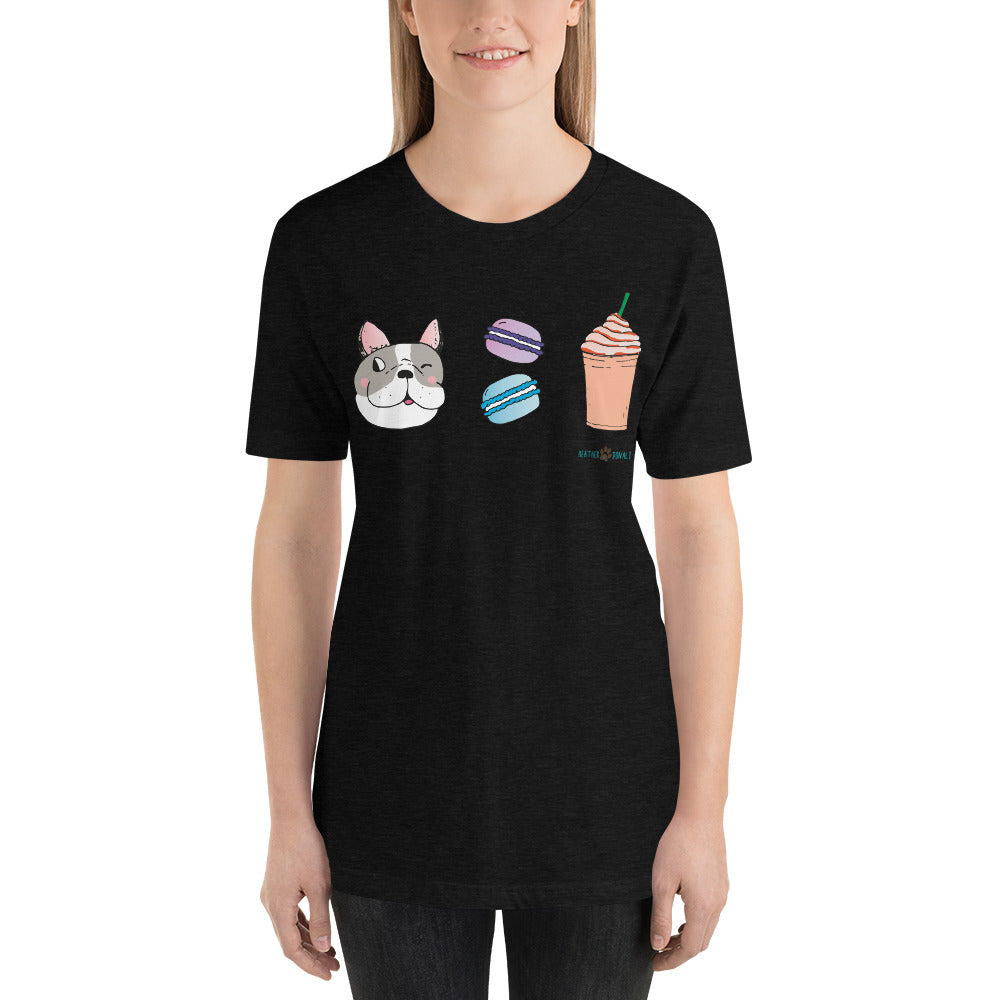 Dog, Macarons, & Frappuccino Sustainable Short-Sleeve Men's & Women's T-Shirt