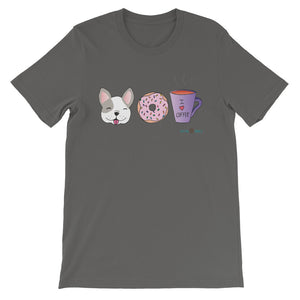 Dog, Donut, & Coffee Sustainable Short-Sleeve Men's & Women's T-Shirt