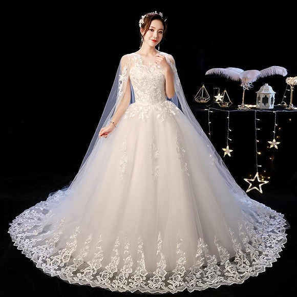 O Neck Long Train Wedding Dress