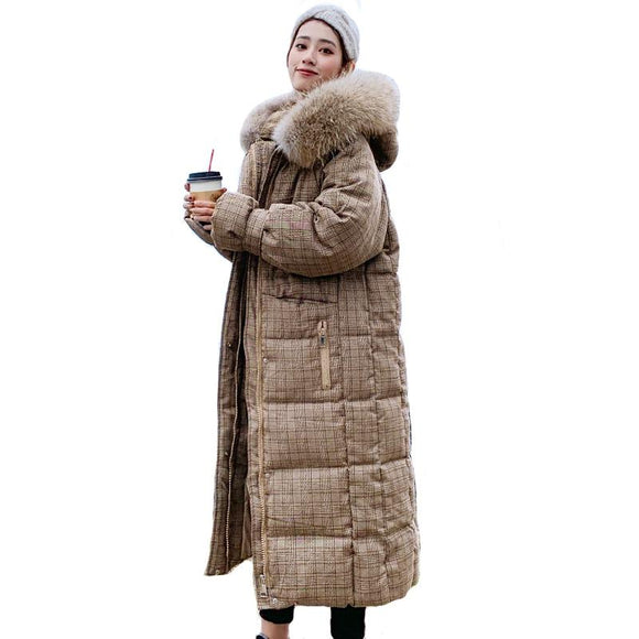 Hooded With Fur X-long Down Coat