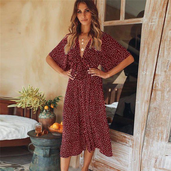 V Neck Wrap Boho Dress