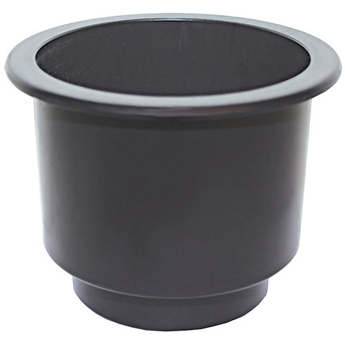 Recessed Drink Holder - Black - Large Dual Size - Plastic