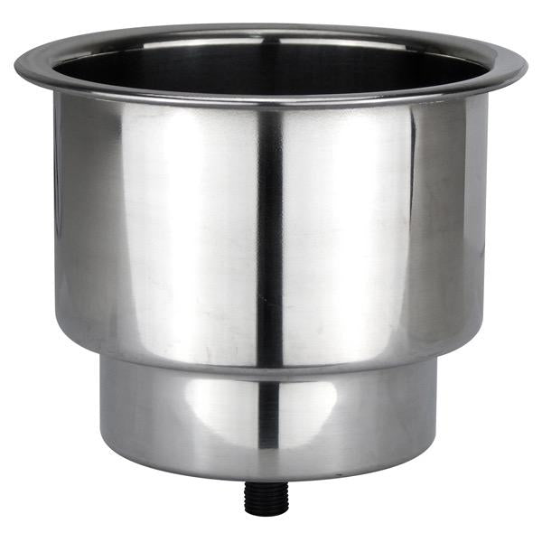Stainless Steel Stepped Recess Drink Holder w/ Drain