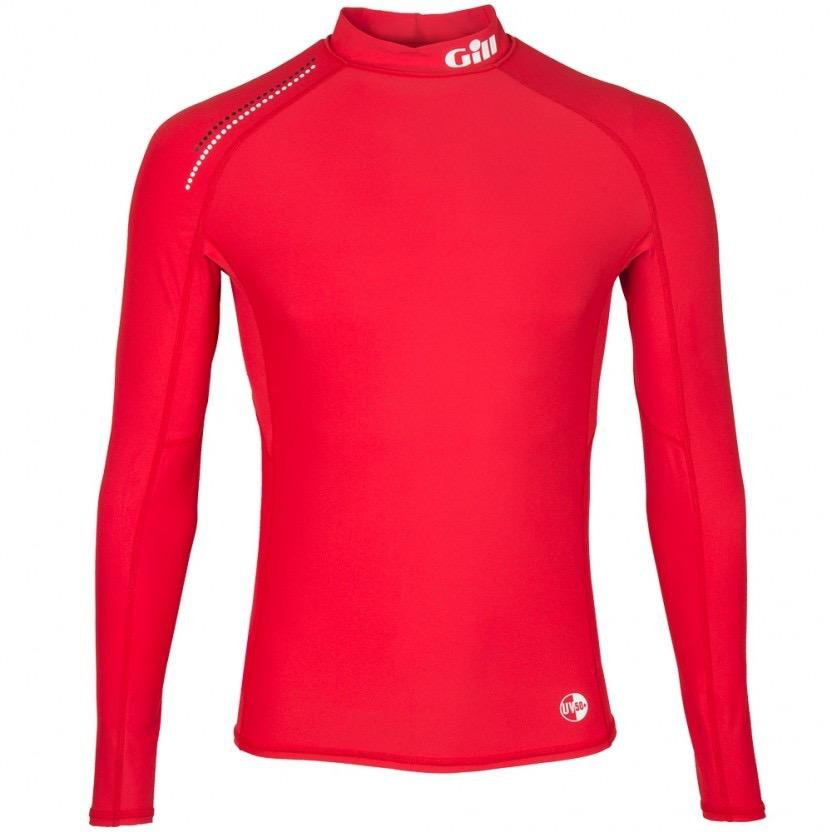 Mens Pro Rash Vest - Long Sleeve - Bright Red - Large