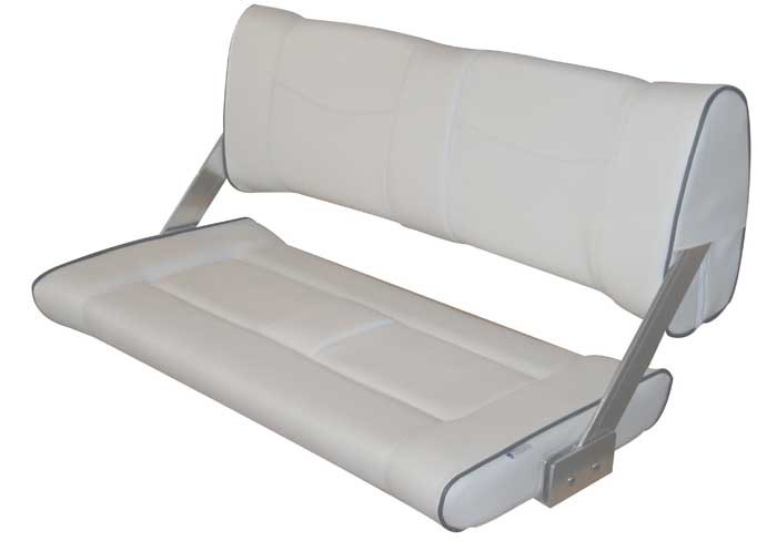 Double Flip-Back Seat - White (Light Grey) with black piping