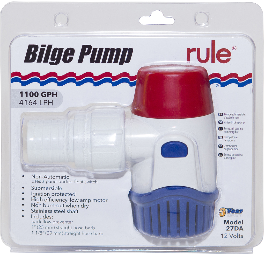 1100GPH Submersible Bilge Pump - Non-Automatic - 12V