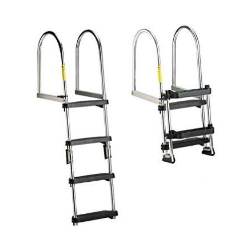 Premium Folding Pontoon Transom Boarding Ladder - 4 Steps