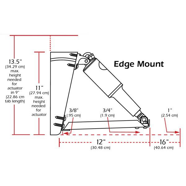 12V Edge Mount Trim Tab Kit - No Swicth