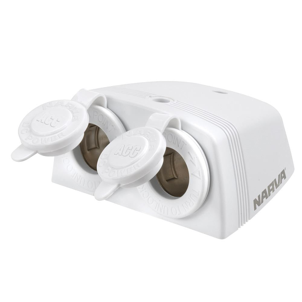 Heavy-Duty Twin Surface Mount Accessory Sockets - White for RV and Marine Applications - Blister Pack