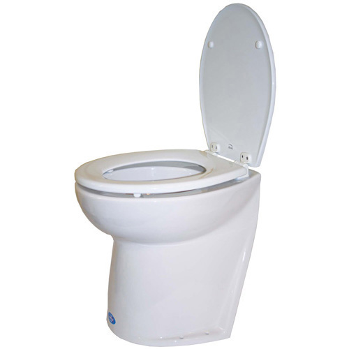 "12 Volt Salt Water Deluxe Silent Flush Electric Toilet 17"" Household Height Slanted Back"