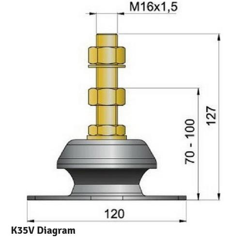 Flexible Engine Mounting - Type K35V - Max Load: 30kg