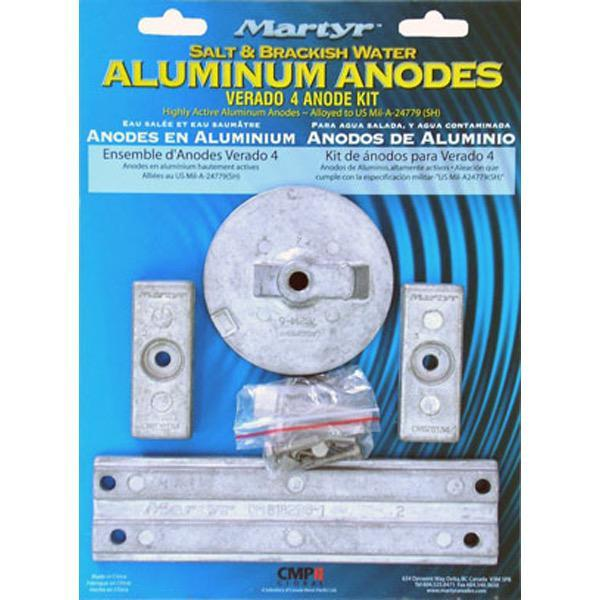 Martyr Unclassified Aluminium Anode Kit - Mercury Verado (Suits 4 Cylinder) - 0.78kg
