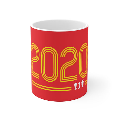 2020 Retro - Champions 19/20 Mug (Yellow & White Print on Red)