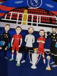 LFC Full Squad Panoramic - Champions 19/20 Caricature Illustration Print - 50 x 23cm