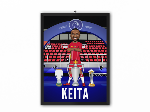 Naby Keita - Champions 19/20 Caricature Illustration Print - A3, A4 or A5