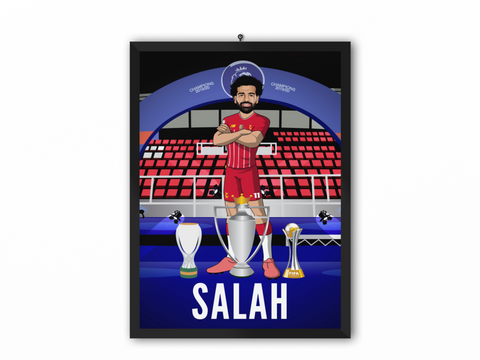 Mohamed Salah - Champions 19/20 Caricature Illustration Print - A3, A4 or A5
